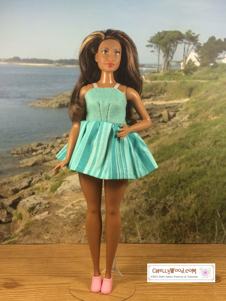 Curvy Short Sundress for Curvy Barbie easy to sew pattern free printable pdf sewing patterns to fit Curvy Barbie from mattel
