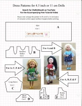 Free, printable #sewing pattern for 4.5-inch #miniature #dolls' dresses @ChellyWood.com