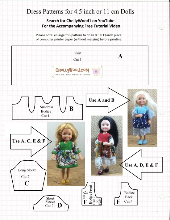 Free, printable #sewing pattern for 4.5-inch #miniature #dolls ...