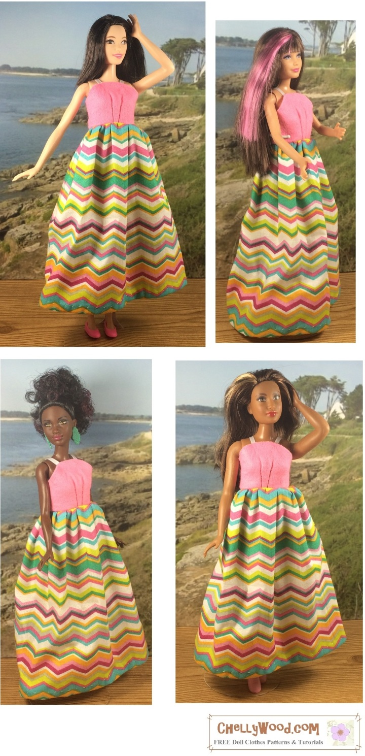 """Image shows a simple sundress worn by three different Mattel dolls, including Curvy Barbie, Tall Barbie, Skipper, and Petite Barbie. Overlay says, """"Chelly Wood dot com: Free printable sewing patterns for dolls of many shapes and sizes."""""""