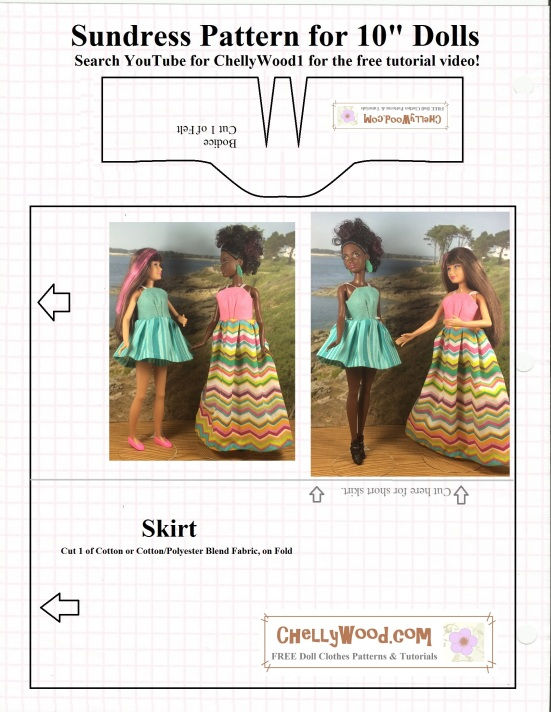 "Image shows a sewing pattern for a doll's sundress. Mattel's Skipper and Mattel's Petite Barbie (both Trademarked names) are shown wearing dresses made using the pattern. Overlay says ""Chelly Wood Dot com: free printable sewing patterns and tutorials."""