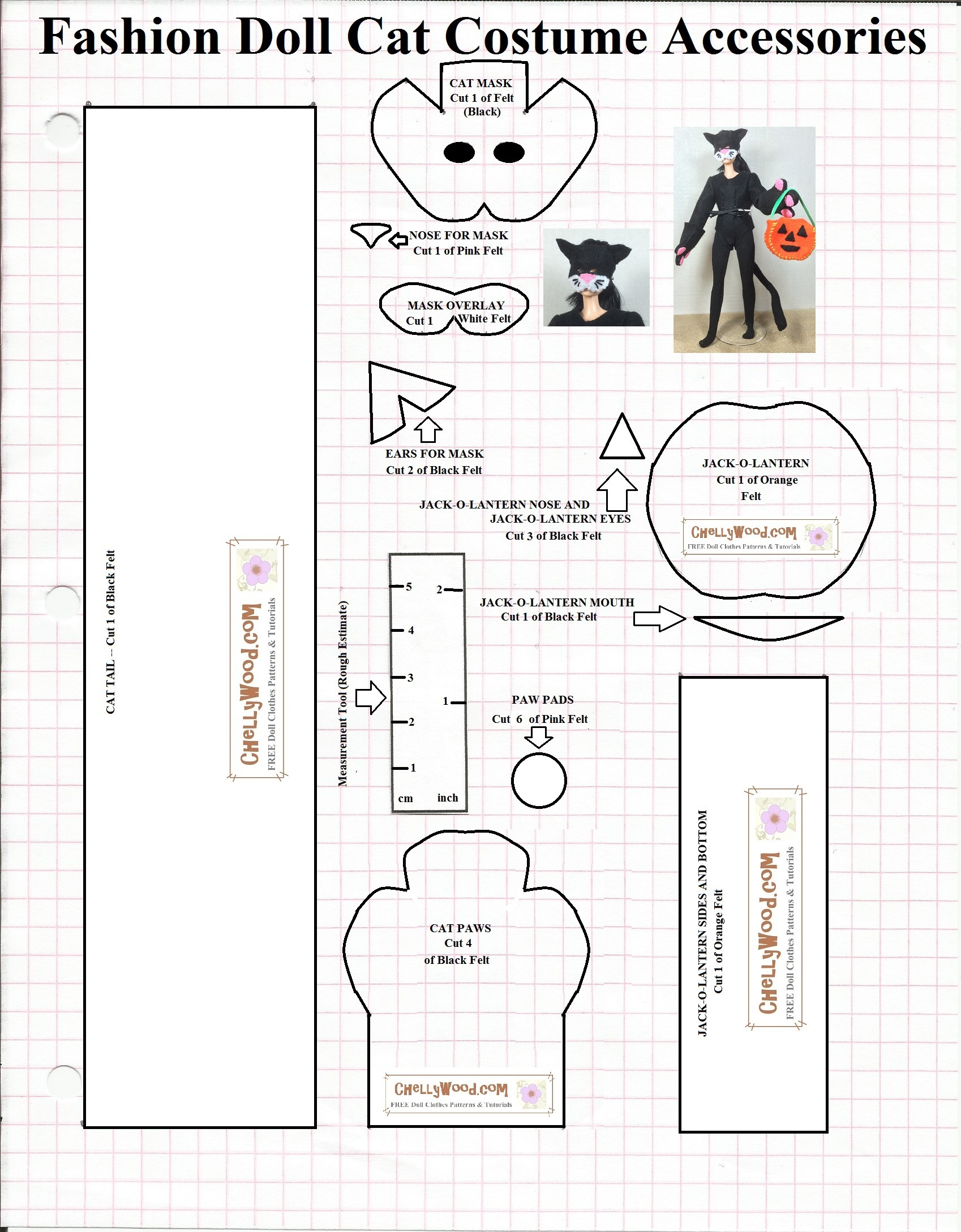 Free sewing patterns for fashion dolls -  My Fashion Doll Halloween Costume Set I Ve Been Getting Requests To Include A Measurement Gauge Therefore You Ll Find This Pattern Along With Some Of