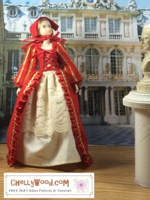Click here to find all the patterns and tutorials you'll need to make this project: https://chellywood.com/2016/11/14/sew-a-holiday-gown-for-momokodoll-w-free-pattern-chellywood-com-ruruko/