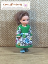 #TinyDoll dress #sewing pattern fits PollyPocket®, Kelly®, Chelsea® and more