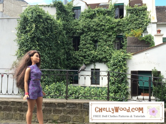 "Image of Curvy Barbie® strolling along a cobblestone road with ivy-covered building behind her. Overlay says ""Chelly Wood Dot Com FREE printable sewing patterns for dolls of many shapes and sizes."""