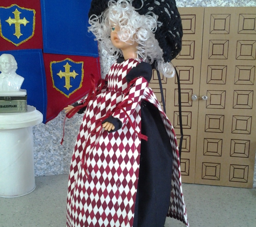 To access the free PDF sewing pattern, please click on the link in the caption. This is an image of a vintage Tammy doll (produced by Ideal Toy Corp in the 1960's) wearing a handmade ball gown, snood, pinafore, and detached sleeves in a renaissance style. ChellyWood.com offers a free PDF sewing pattern for making these doll clothes to fit the Ideal Toy Corporation Tammy Dolls.