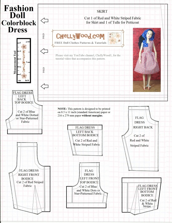 Free printable #pattern for #ColorblockDress for #dolls @ ChellyWood ...