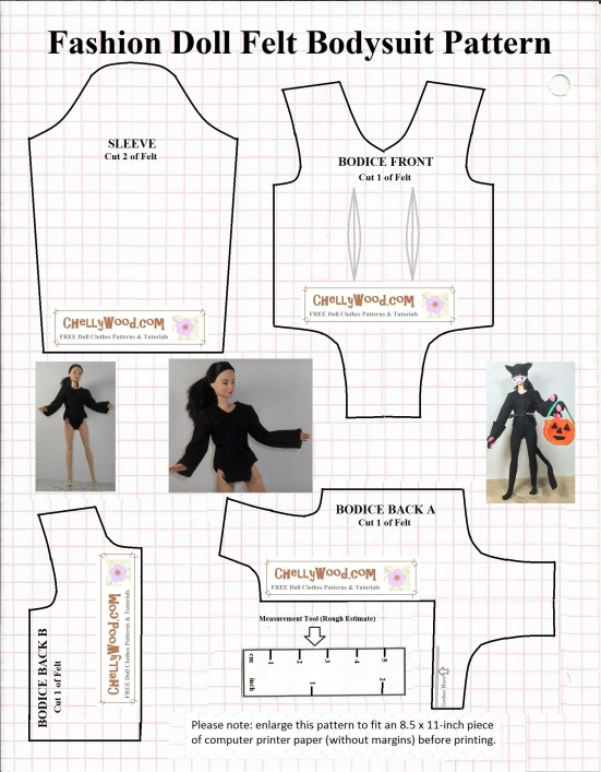 Sew a bodysuit for your #dolls\' #Halloween #cat costume w/ this FREE ...