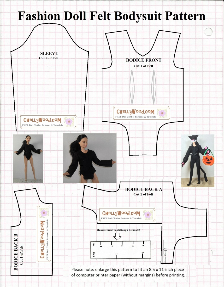 Sew a bodysuit for your #dolls' #Halloween #cat costume w ...