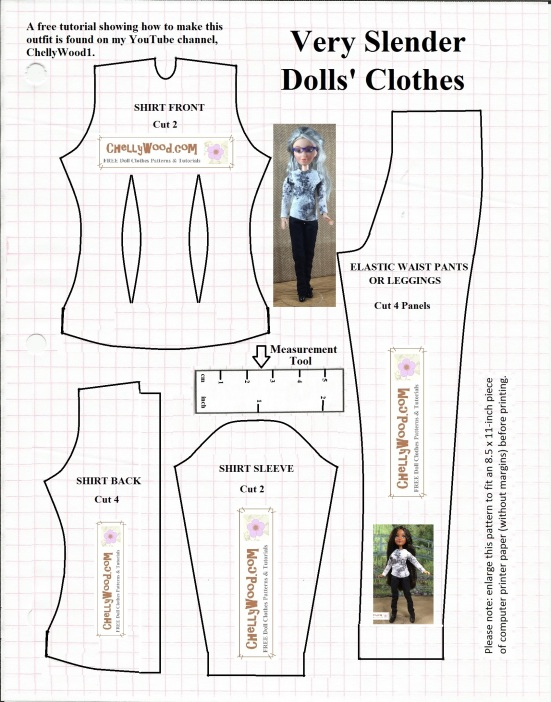 Please visit ChellyWood.com for free printable sewing patterns to fit dolls of many shapes and sizes.