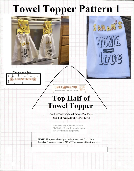 Visit ChellyWood.com for free, printable sewing patterns. Image is of a towel-topper pattern. This is only one of two patterns for a towel-topper. The other free pattern is found at ChellyWood.com, along with a free tutorial video showing how to make the pattern.