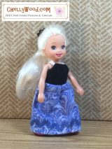 Free #sewing lesson for #kids: make a tiny #doll's dress w/ free pattern