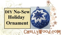 """Please visit ChellyWood.com for FREE printable sewing patterns and craft ideas. The image shows a holiday ornament in Hanukkah blue and white. It's made of a styrofoam ball, quilt triangles, and straight pins. the overlay says """"No-sew holiday ornament"""" and offers the URL ChellyWood.com. The page where this image is found has a free printable no-sew pattern for the quilt squares and a tutorial video from youtube showing you how to make this lovely quilted ornament to give as a gift for Christmas or Hanukkah. The ornament can be hung from a Christmas tree by a pretty ribbon, and it can also be made in Christmas red and green, or any other color combination, using fabric scraps cut into small squares of fabric."""