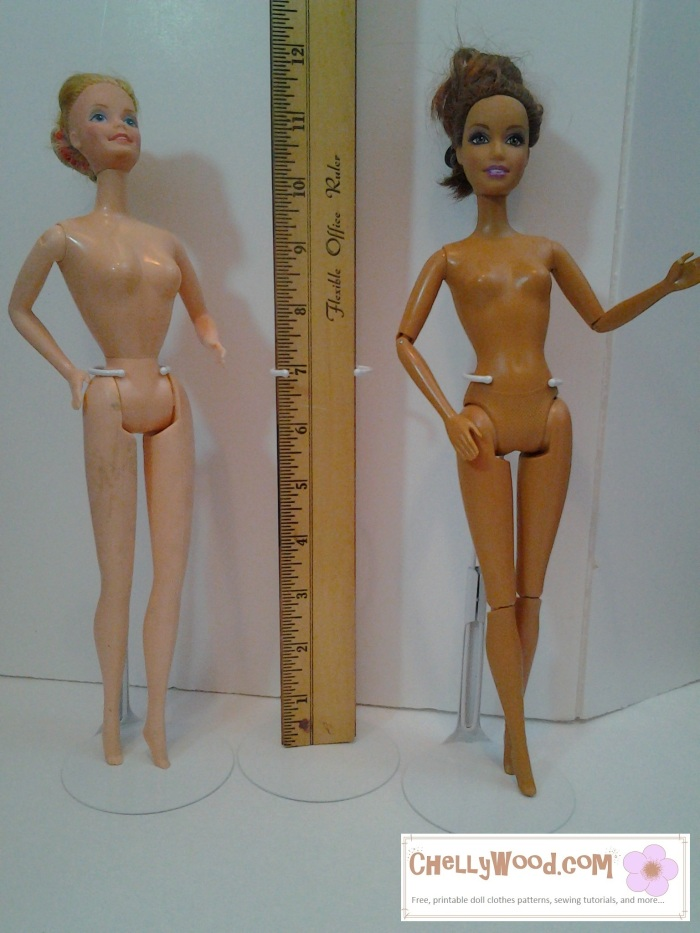 "Image shows Superstar Barbie, nude, standing next to the modern Teresa doll, with a ruler in between the two dolls. Overlay says, ""ChellyWood.com: free printable sewing patterns and tutorials."""