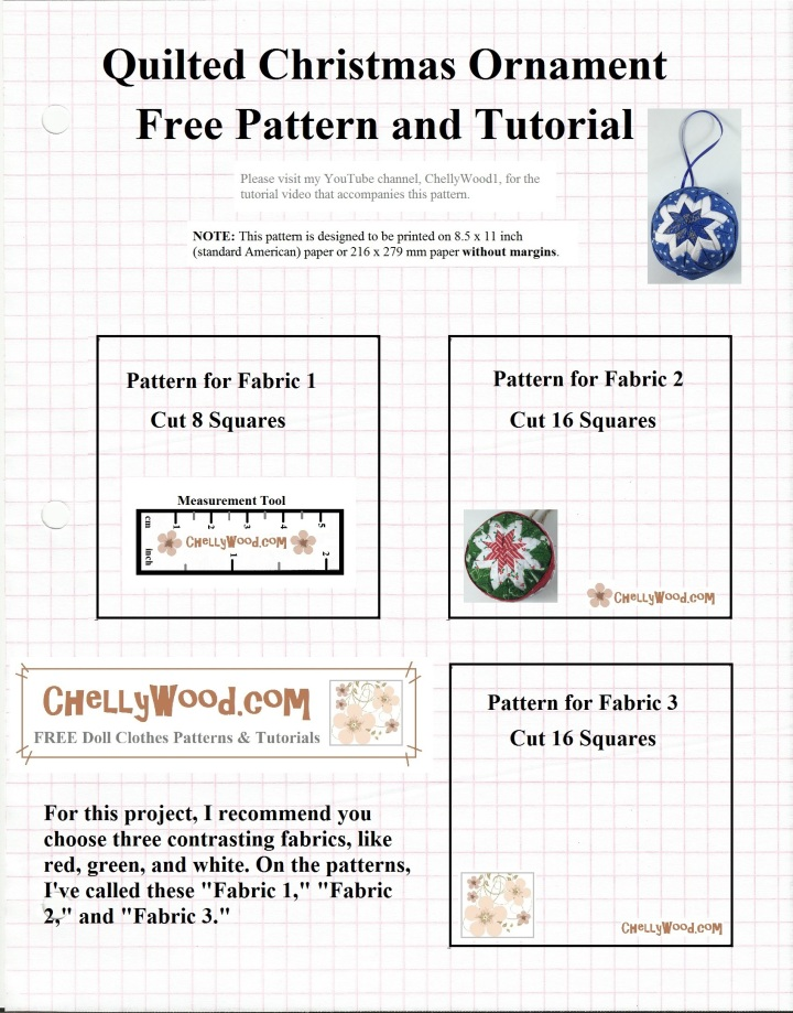 """Image shows a Hanukkah decoration or Christmas tree ornament that appears to be quilted with a star in the middle of the ornament. The pattern is made up of three squares. One says, """"Pattern for Fabric 1: Cut 8 Squares."""" Another says, """"Pattern for Fabric 2: Cut 16 Squares."""" The third pattern says, """"Pattern for Fabric 3: Cut 16 squares."""" The website offered for the free video tutorial is ChellyWood.com"""