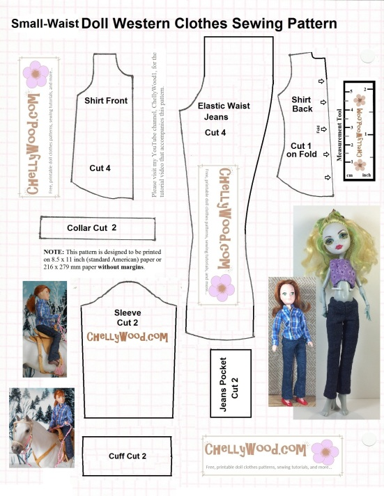 "Image is a free, printable sewing pattern for small dolls' long sleeve shirt and elastic-waist pants. Image shows a monster high doll wearing the pants and a Breyer rider doll wearing both the pants and shirt. Image says to enlarge the pattern to fit a full-sized piece of american printer paper before printing. The watermark says ""ChellyWood.com: free printable sewing patterns for dolls of many shapes and sizes."""