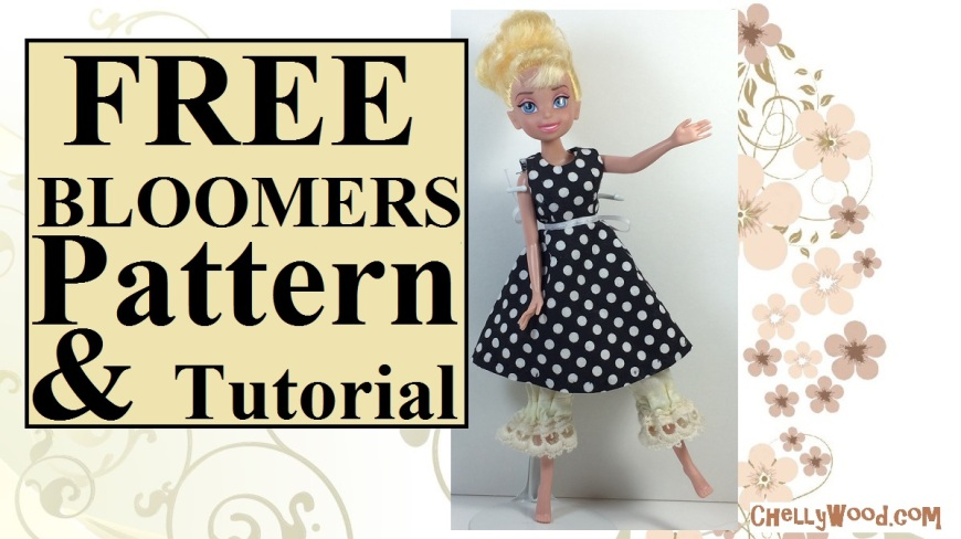 """Image is of a YouTube video header. On the header, a Disney Tinkerbell doll dances gracefully, wearing a black and white polka dot dress. Beneath her dress, a pair of Victorian lace bloomers stick out. The overlay says, """"FREE bloomers pattern and tutorial: ChellyWood.com."""""""