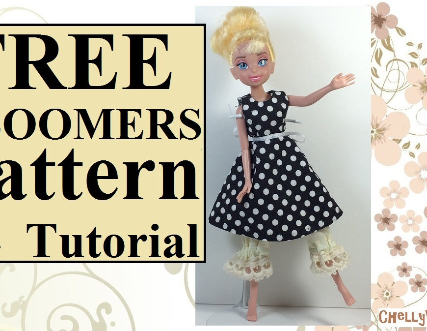 "Image is of a YouTube video header. On the header, a Disney Tinkerbell doll dances gracefully, wearing a black and white polka dot dress. Beneath her dress, a pair of Victorian lace bloomers stick out. The overlay says, ""FREE bloomers pattern and tutorial: ChellyWood.com."""