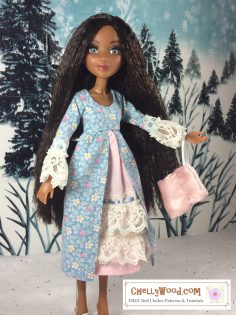 Click here to access all the patterns and tutorials you'll need to make this outfit: https://chellywood.com/2017/01/27/small-dolls-pioneer-outfit-patterns-are-free-chellywood-com-dollstagram/