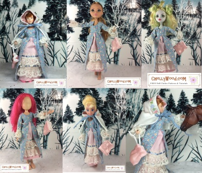 "This dress fits Breyer Dolls, Ever After High dolls, Monster High dolls, What's Her Face dolls, Disney Princess 8"" dolls, World of Love dolls, and more. Click this link to find the FREE patterns and tutorials for this outfit: https://chellywood.com/2017/01/27/small-dolls-pioneer-outfit-patterns-are-free-chellywood-com-dollstagram/"