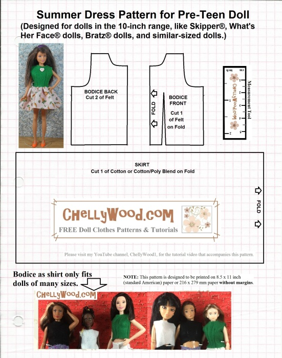 Visit ChellyWood.com for free, printable sewing patterns for dolls of ...