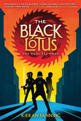 "Image shows the cover of a middle-grade novel called ""the Black Lotus: the Samurai Wars"" by Kieran Fanning. Three teenage ninjas are pictured on the streets of a city with a sunset behind them. They cast shadows on the street where they stand. The ninja in the foreground holds a samurai sword."
