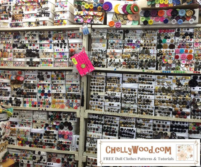 """Image shows a wall of buttons in hundreds of shapes, sizes, colors, and styles. Overlay says, """"ChellyWood.com: Free printable sewing patterns for dolls of many shapes and sizes."""""""