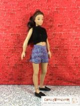 Mix-N-Match 3: #Lammily #dolls can wear #CurvyBarbie's free shorts pattern @ChellyWood.com