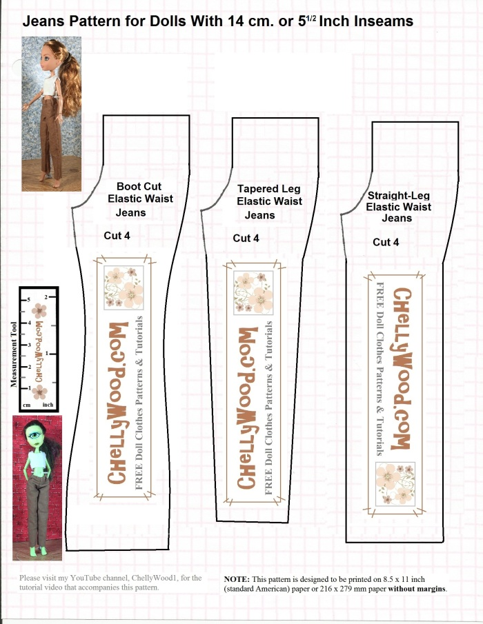 "Image Shows a Monster High doll and an Ever After High doll wearing a pair of tan pants. Beside these images are three different patterns for pants. One is for a boot-cut pair of pants or jeans; a second is for cropped pants; the third is for a straight-legged pair of pants or jeans. The overlay says, ""Free printable sewing patterns for dolls with 15 centimeter inseams."" It also has the watermark, ""ChellyWood.com: Free printable sewing patterns for dolls of many shapes and sizes."""