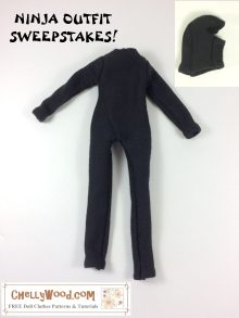 """Image shows ninja body suit and ninja mask that have been handmade to fit an 11.5-inch fashion doll. Title says, """"Ninja outfit sweepstakes!"""" Watermark says, """"ChellyWood.com: free printable sewing patterns for dolls of many shapes and sizes."""""""