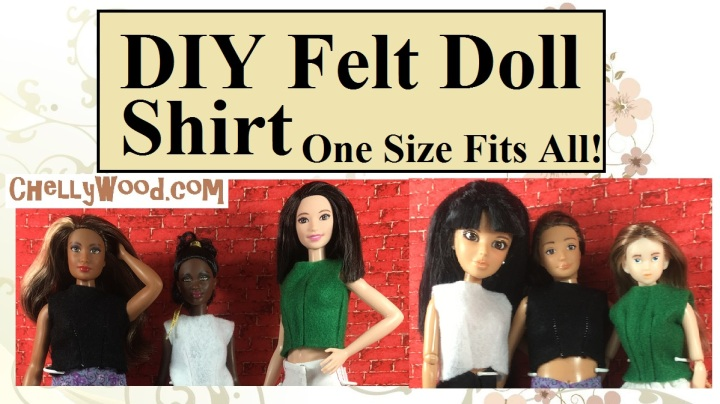Image shows Curvy Barbie, Tall Barbie, Petite Barbie, Spin Master Liv Doll, Lammily Doll, and Momoko Doll all modeling the same shirt. Overlay says,