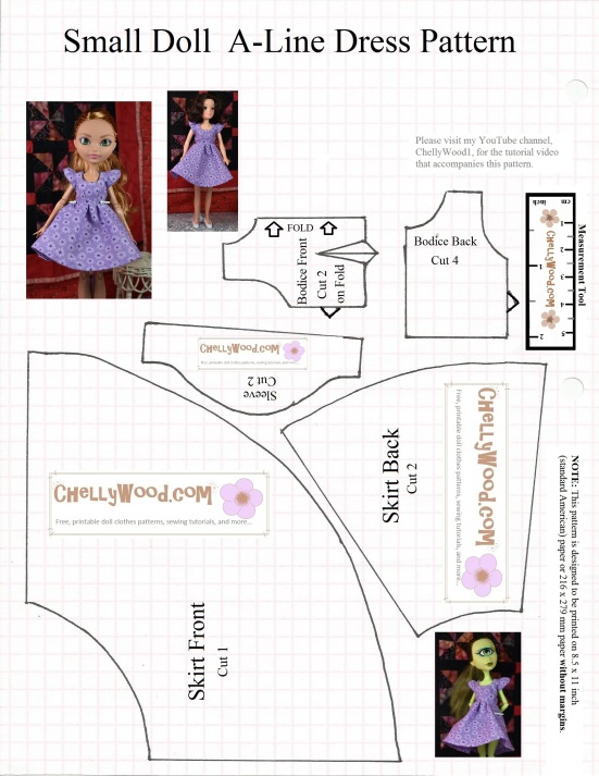 Image shows a hand-drawn pattern for an A-line dress with cap sleeves. It includes three skirt pieces, one sleeve pattern, and two bodice patterns. On the pattern page, it shows a tiny dollhouse-sized doll wearing the dress; it also shows a monster high doll and an ever after high doll wearing the same narrow-waisted dress. Each pattern piece is watermarked with the website: ChellyWood.com