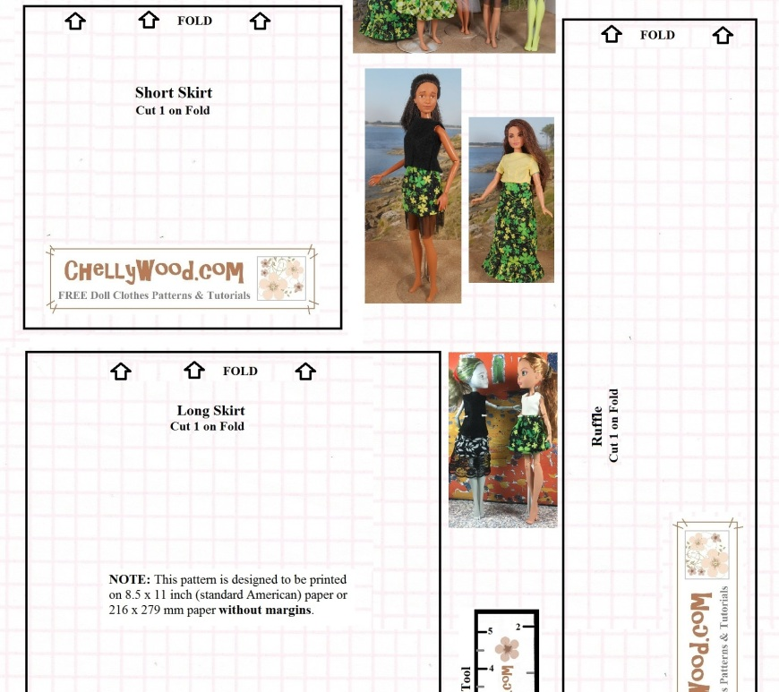 Image shows a blackline printable pattern for fashion doll skirts. Images of dolls wearing the skirts indicate that this one pattern can be used to make as many as five different styles of skirts for fashion dolls. The following fashion dolls are shown wearing the printable skirt pattern: Barbie, skipper, Monster High, Ever After High, and Curvy Barbie dolls. The watermark on this printable sewing pattern is ChellyWood.com: free doll clothes patterns and tutorials.