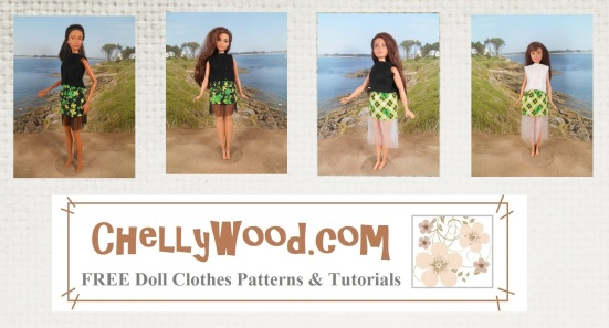 """Image shows Barbie, Skipper, and Curvy Barbie all wearing the same skirt design, which has been hand-made using the pattern found at ChellyWood.com (URL is on the watermark and also says, """"Free doll clothes patterns and tutorials)."""