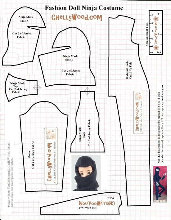 Image shows a printable sewing pattern for a ninja uniform. The pattern includes a full-length costume, plus a mask that covers all of your fashion doll's head except her eyes. on the pattern is a tiny image of Mattel's Made-to-Move Barbie wearing the Ninja costume. Overlay says: ChellyWood.com free printable sewing patterns and tutorials for dolls of many shapes and sizes.