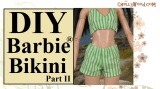 Sew shorts or a #retro bikini for #Barbie® #dolls w/free pattern @ ChellyWood.com
