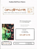 Free printable purse pattern for #Barbie® or other #FashionDoll @ ChellyWood.com #sewing