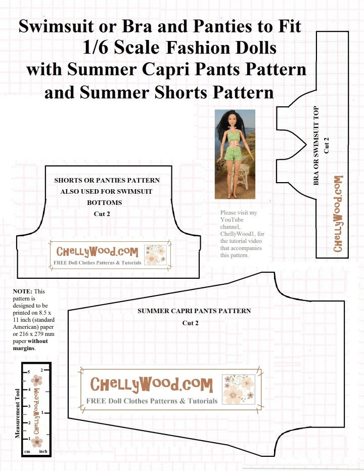 Image shows a lined printable pattern for both a bikini style swimsuit (top and bottoms) and a pair of capri pants (capris). Overlaid text offers the name of the website where this free printable sewing pattern can be found: ChellyWood.com.