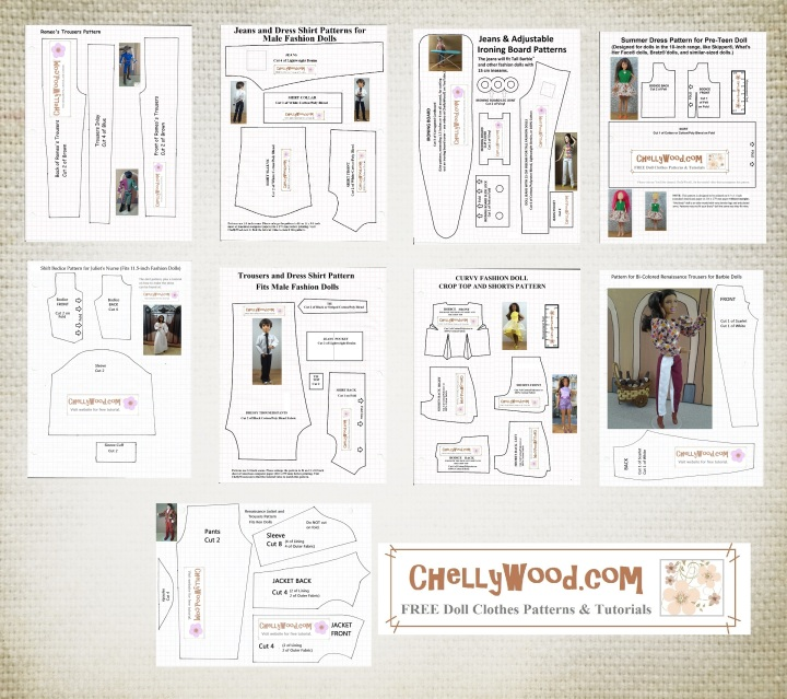 """Images shows a collage of sewing patterns for dolls. Overlay says """"ChellyWood.com: free printable sewing patterns for dolls of many shapes and sizes."""""""