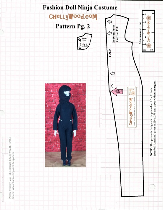 FREE Printable Pattern and Tutorial for #Dolls\' #NinjaCostume ...
