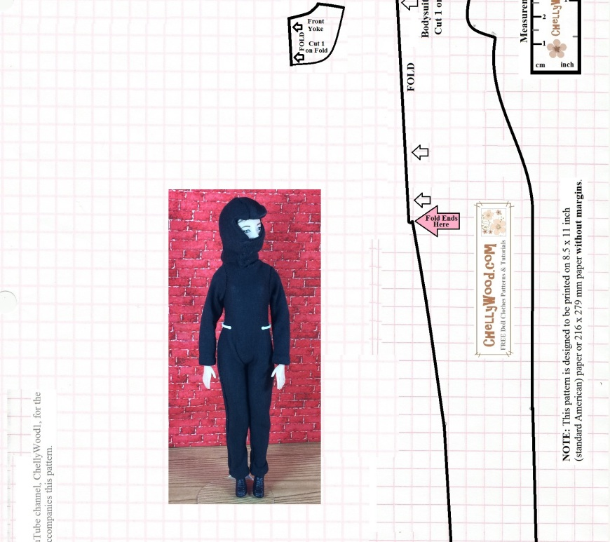 "Image shows Made-to-Move Barbie wearing a ninja mask and ninja uniform. This is the second of two free printable sewing patterns that fit 11.5 inch fashion dolls like Barbie. Overlay says ""ChellyWood.com: free printable sewing patterns for dolls of many shapes and sizes."" Pattern must be printed on American printer paper with no margins, to fit doll using 1/4 inch sewing seams."
