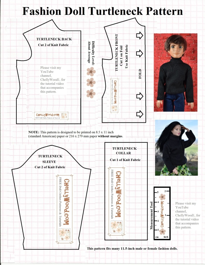 """Free printable sewing pattern for Barbie or Ken turtleneck sweater at ChellyWood.com: image shows both a Mattel Barbie and a male fashion doll (Jake from the Liv Doll collection) wearing a handmade turtleneck sweater. The image also includes a black-line free, printable sewing pattern for sewists to make the shirt themselves. Overlay says, """"visit my YouTube channel, ChellyWood1, for the free tutorial that shows how to make this project."""