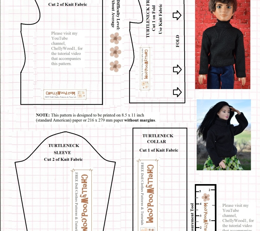 "Free printable sewing pattern for Barbie or Ken turtleneck sweater at ChellyWood.com: image shows both a Mattel Barbie and a male fashion doll (Jake from the Liv Doll collection) wearing a handmade turtleneck sweater. The image also includes a black-line free, printable sewing pattern for sewists to make the shirt themselves. Overlay says, ""visit my YouTube channel, ChellyWood1, for the free tutorial that shows how to make this project."