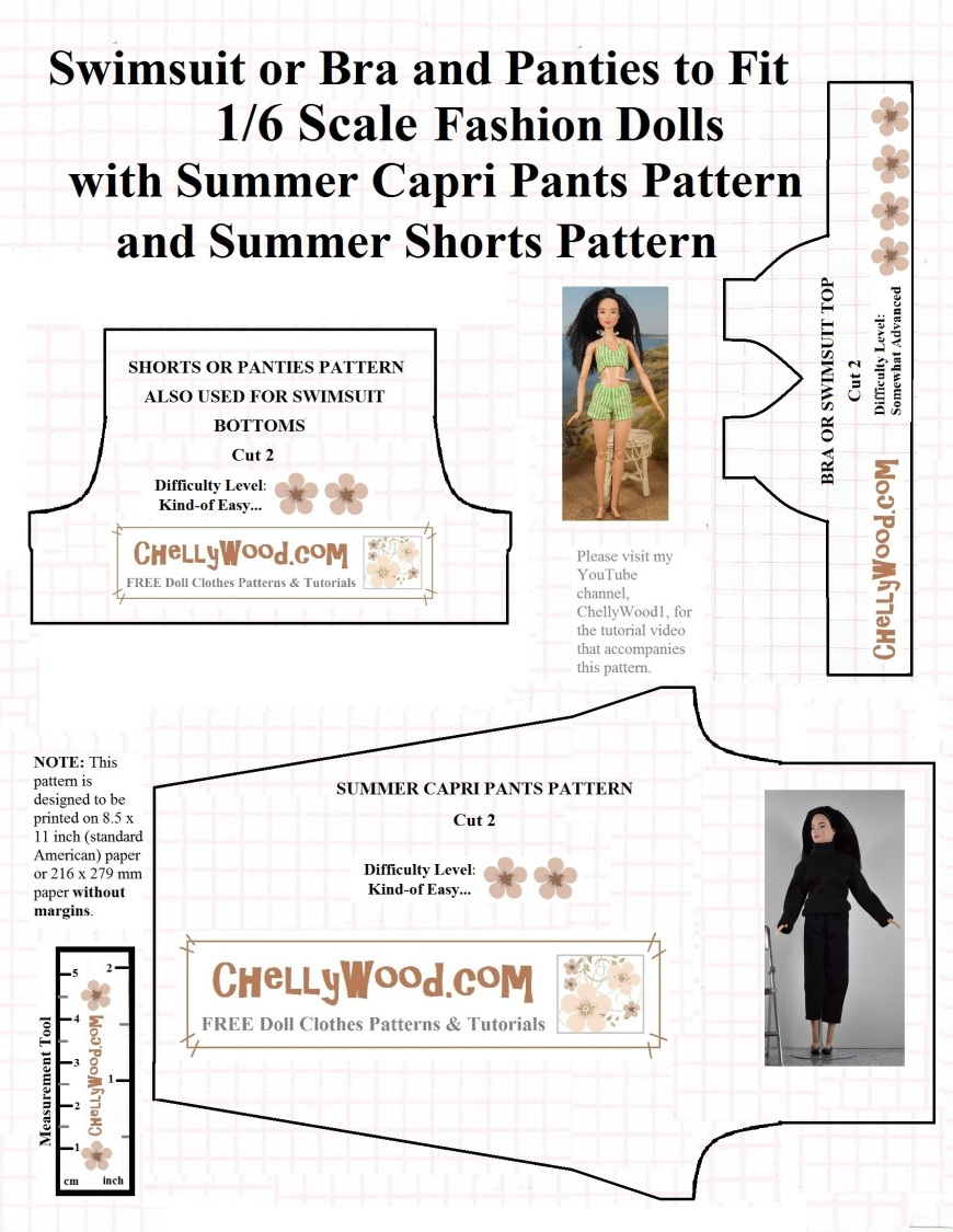 """Visit ChellyWood.com for free, printable sewing patterns for dolls of many shapes and sizes. Image shows a printable sewing pattern for a 1:6 scale fashion doll's swimsuit top, shorts (or underpants), and elastic-waist capri pants. Overlay says, """"visit my website for the video tutorials to accompany this pattern."""""""