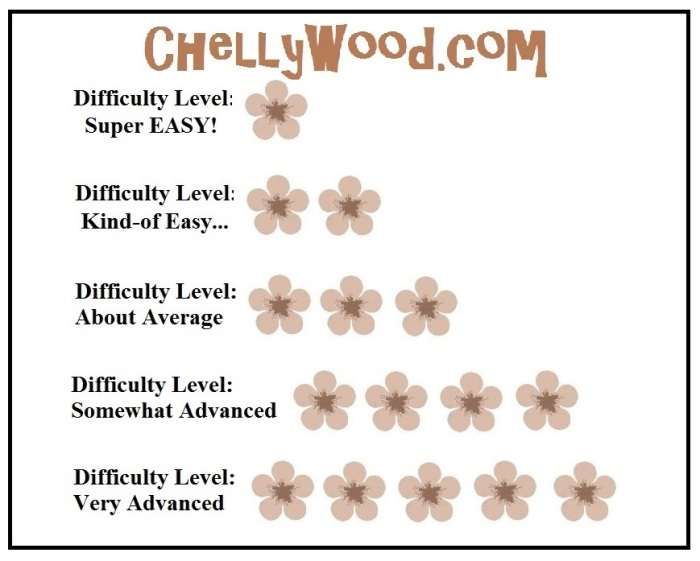 Visit ChellyWood.com for free, printable sewing patterns for dolls of many shapes and sizes. Image shows a pattern of small pink flowers. One flower = super easy difficulty; two flowers = kind-of easy difficulty; three flowers = about average difficulty; four flowers = somewhat advanced level of difficulty; five flowers = very advanced level of difficulty. This chart is used to determine how hard a sewing project will be on ChellyWood.com, where free doll clothes patterns are posted nearly every week, along with sewing tutorials.