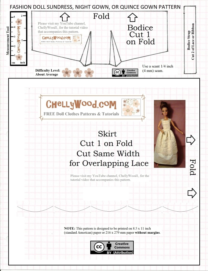 """Visit ChellyWood.com for free, printable sewing patterns for dolls of many shapes and sizes. Image shows a free printable pattern for a fashion doll's nightgown, sundress, or quince dress pattern. It fits most fashion dolls, like Barbie, Liv dolls, Queens of Africa dolls, Poppy Parker dolls, Fashion Royalty dolls, Disney Princess dolls, and many more. Overlay says, """"ChellyWood.com: creative commons attribution."""""""