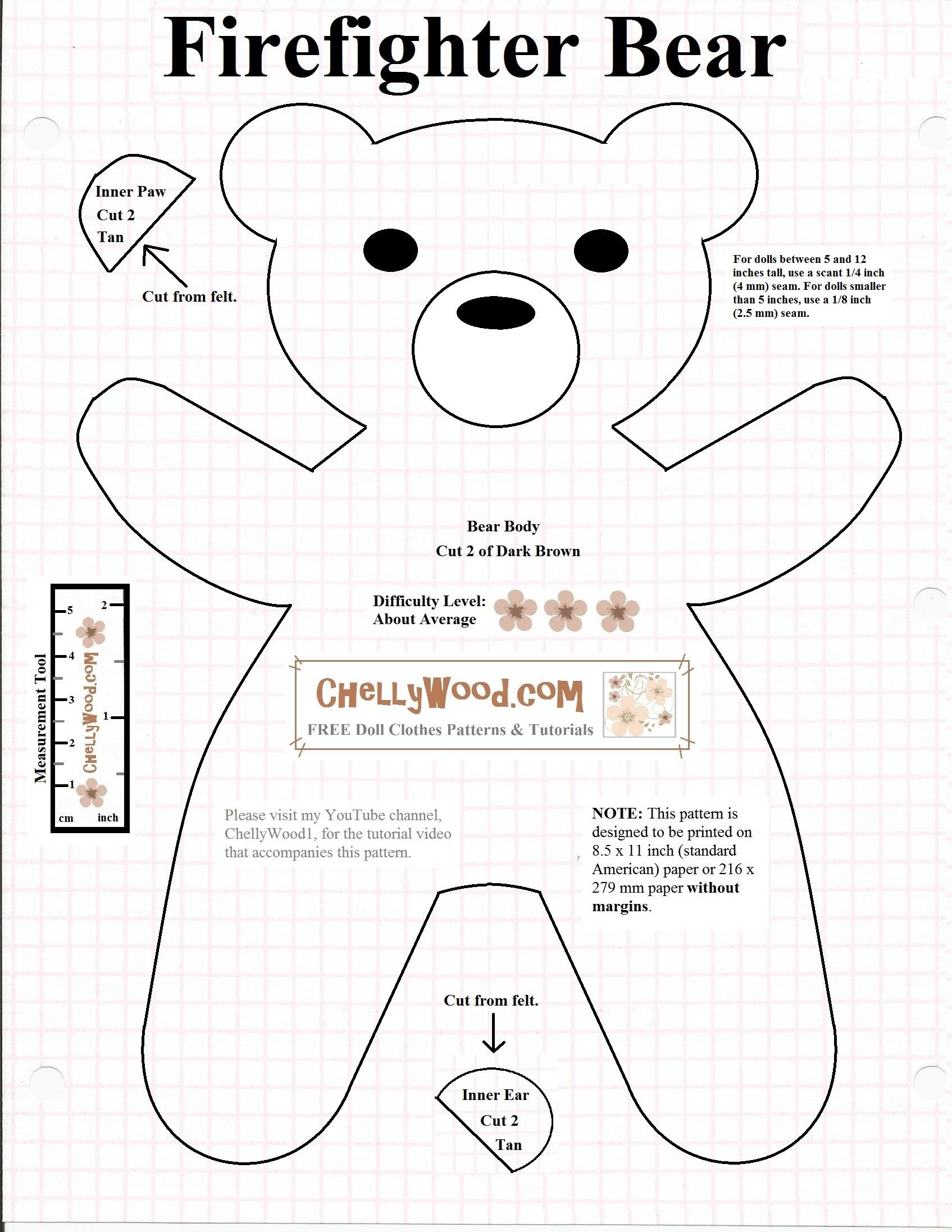 Free Printable Smokeybear Or Teddybear Sewing Pattern
