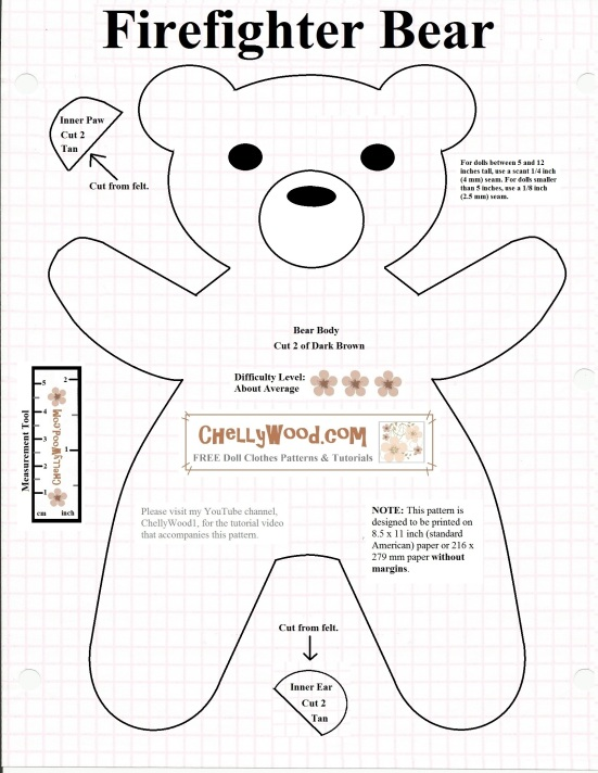 "Image shows a printable sewing pattern for a teddy bear that resembles Smokey the Bear (thus the title, ""Firefighter Bear Pattern."" Instructions for seam allowances and how to use the pattern are printed on the pattern itself. Watermark says: ""ChellyWood.com: free printable sewing patterns for dolls of many shapes and sizes."""