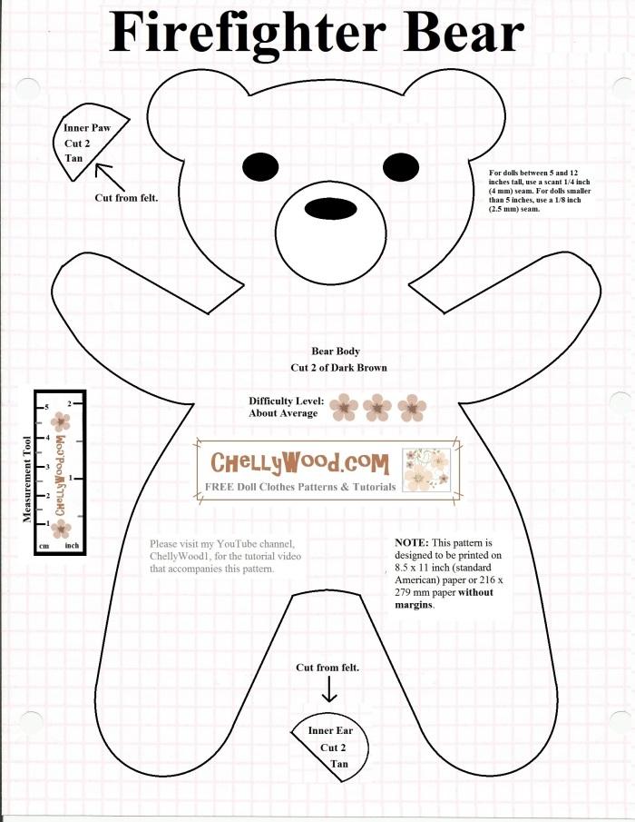 Free printable #SmokeyBear or #TeddyBear #sewing pattern ...