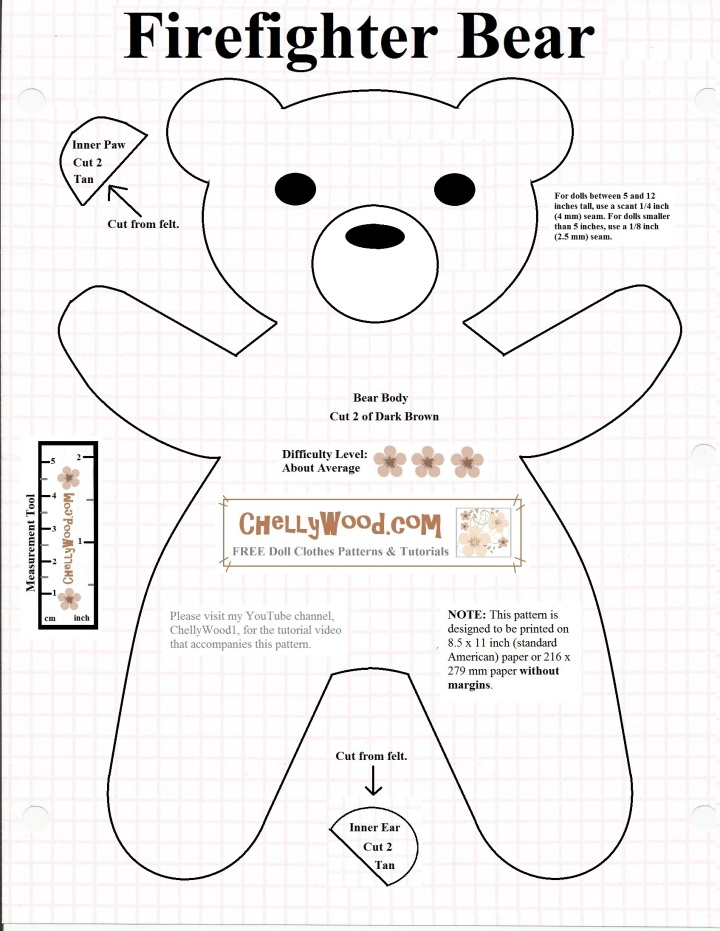 Free Printable Smokeybear Or Teddybear Sewing Pattern